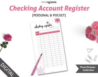 check register planner insert checking register printable etsy