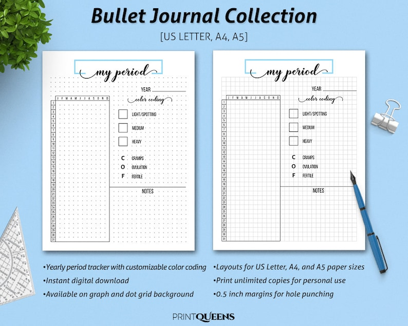 Period Tracker, Menstrual Cycle Tracker, Menstrual Calendar, Menstruation  Tracker, Fertility Tracker, Bullet Journal, INSTANT DOWNLOAD