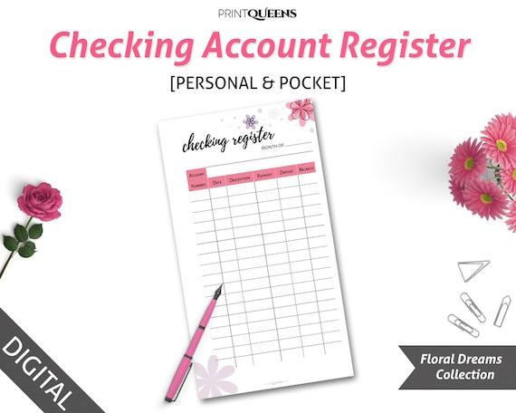 checking account register finance printable check register etsy