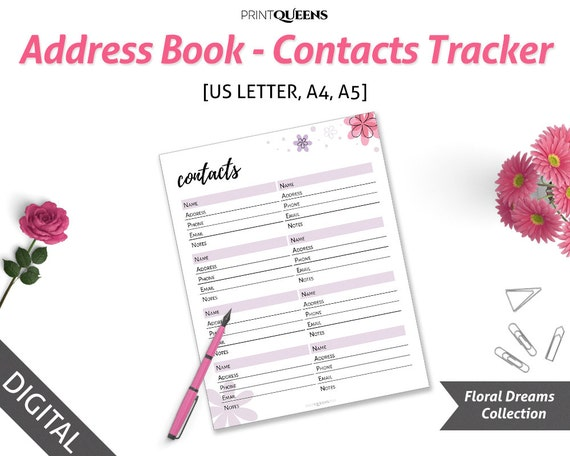 address book printable contact info contact page contact book a5