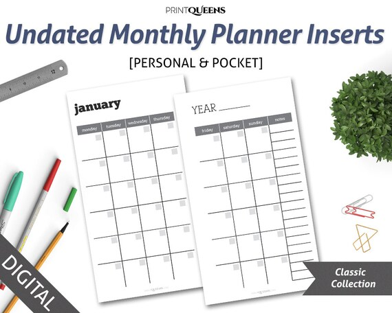 undated monthly planner insert printable month on two pages mo2p
