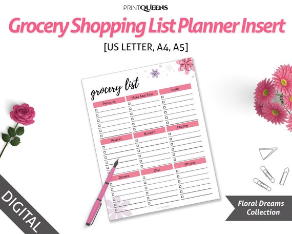 grocery list notepad meal planning a5 planner size menu planner