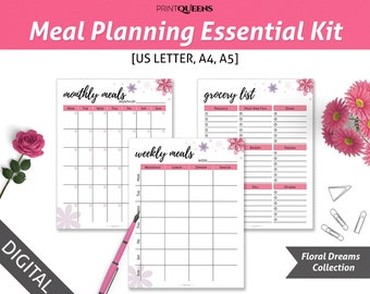 Meal Planning Essential Kit, Weekly Meal Planner, Filofax A5, Meal Planner Printable, Meal Planning, Grocery List, A5/A4/Letter Size
