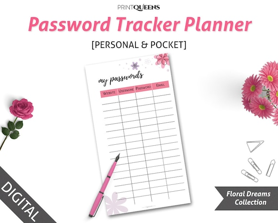 Password Tracker Password Journal Filofax Personal Printable