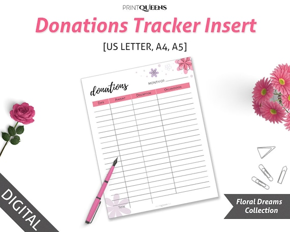 donation tracker planner insert printable donation record donation