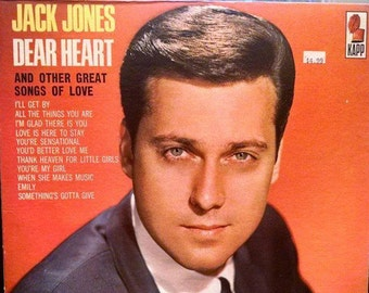 1960s Romantic LP, Jack Jones Dear Heart, 1965 Vintage Vinyl Record Album. Love is Here to Stay, All the Things You Are.  Fine condition