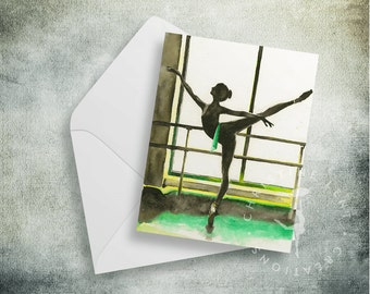 Ballerina at the Barre Note Cards:  Great for gifts.  Ballerina, Dancer, Dance teacher, Girl gift, blank, pointe, barre,