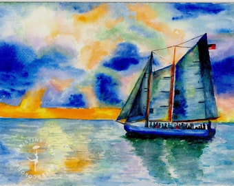 Key West Time fine art waterclor print