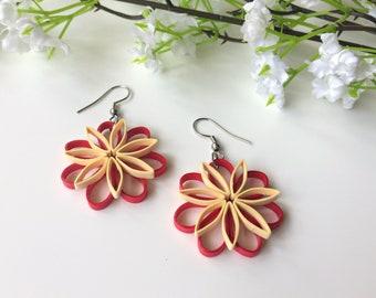 flower earrings drop earrings present for her Dangle earrings women gift for under 30 gift for best friend colorful earrings