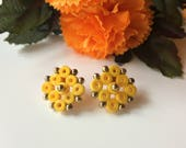 Yellow stud earrings, yel...