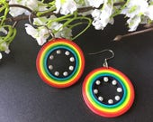 Rainbow earrings, colorfu...
