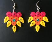 colorful flower earrings,...