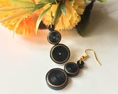 Fashion black earrings, g...