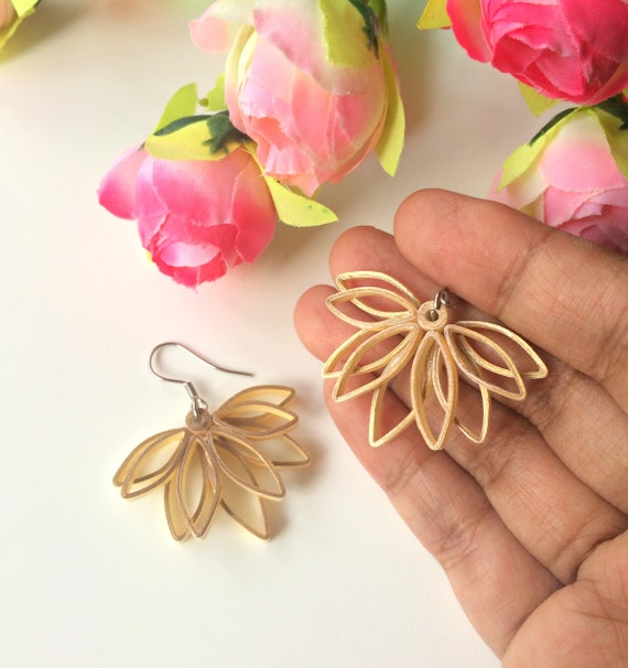 Lotus Flower Earrings Gold Flower Earrings Lightweight Etsy