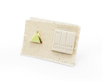 SINGLE Tiny Triangle Porcelain Stud Earring with Spring Green Glaze and Gold Line Accent - Geometric Ceramic Jewelry