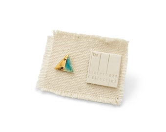 SINGLE Tiny Triangle Porcelain Stud Earring with Textured Turquoise Glaze and Diagonal Gold Accent - Geometric Ceramic Jewelry