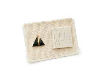 SINGLE Tiny Triangle Porcelain Stud Earring with Metallic Black Glaze and Gold Line Accent - Geometric Ceramic Jewelry