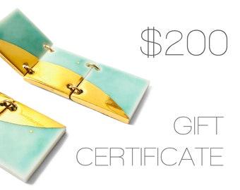 Lusterbone Gift Certificate - 200 Dollars! - Geometric Ceramic Jewelry