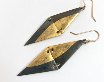 Two-Tiered Porcelain and Gold Drop Earrings in Metallic Black Glaze with Gold Half Moon Accents - Geometric Ceramic Jewelry