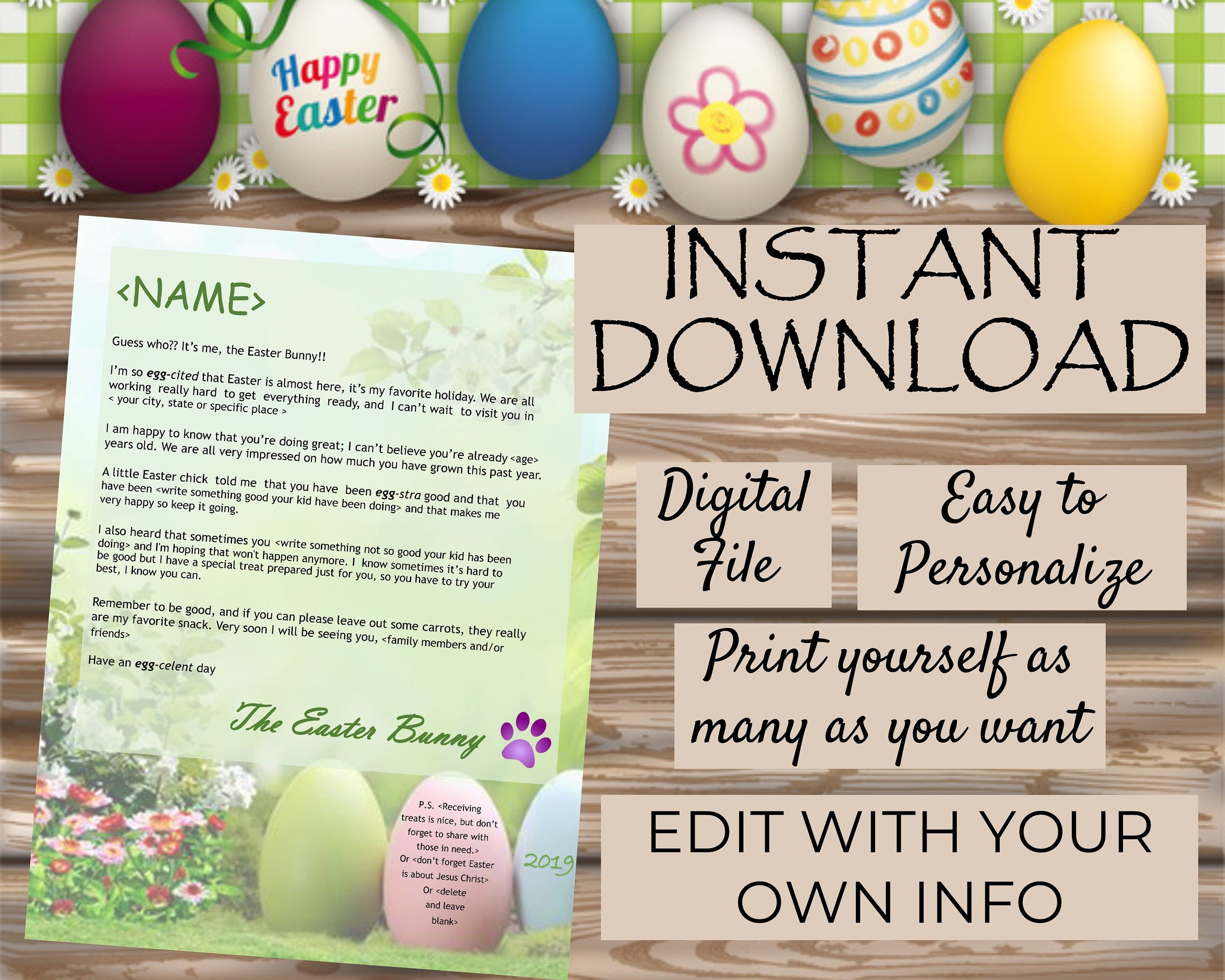 Personalized Easter Bunny Letter 2019 - Editable Printable Digital Instant  Download