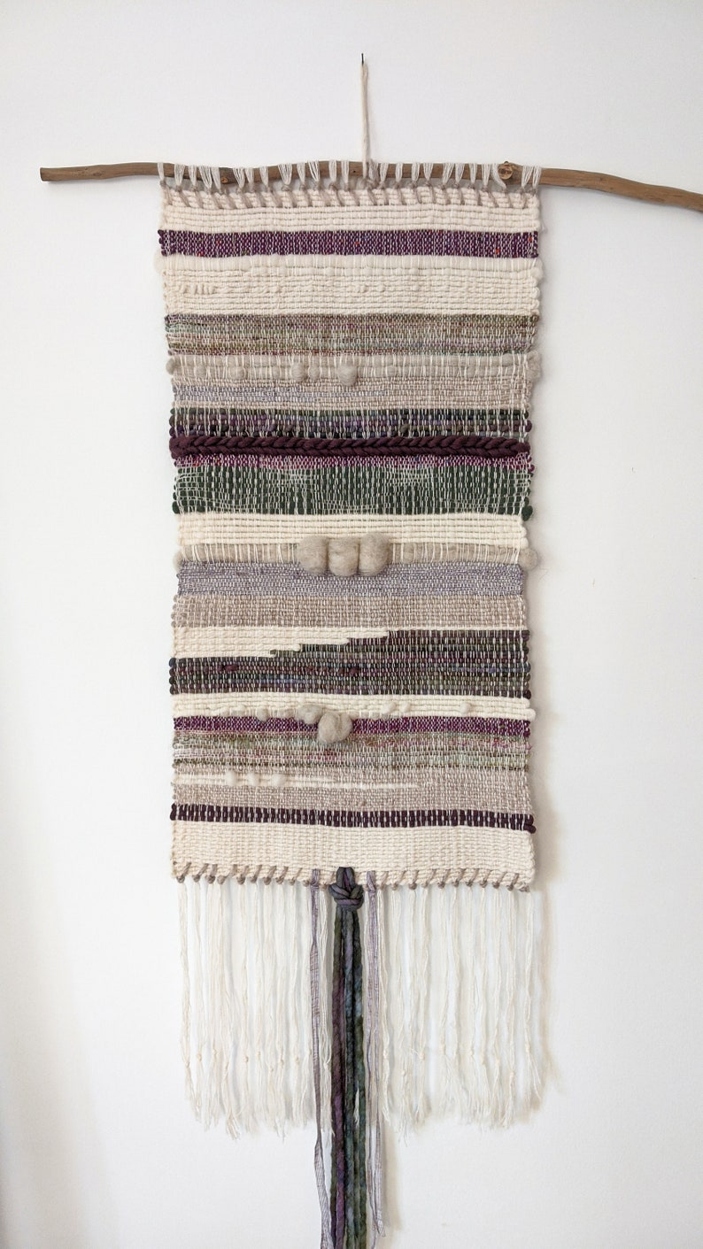 Eggplant / Woven wall hanging / Abstract / Textile art / Fibre image 0