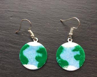 Planet Earth enamelled earrings