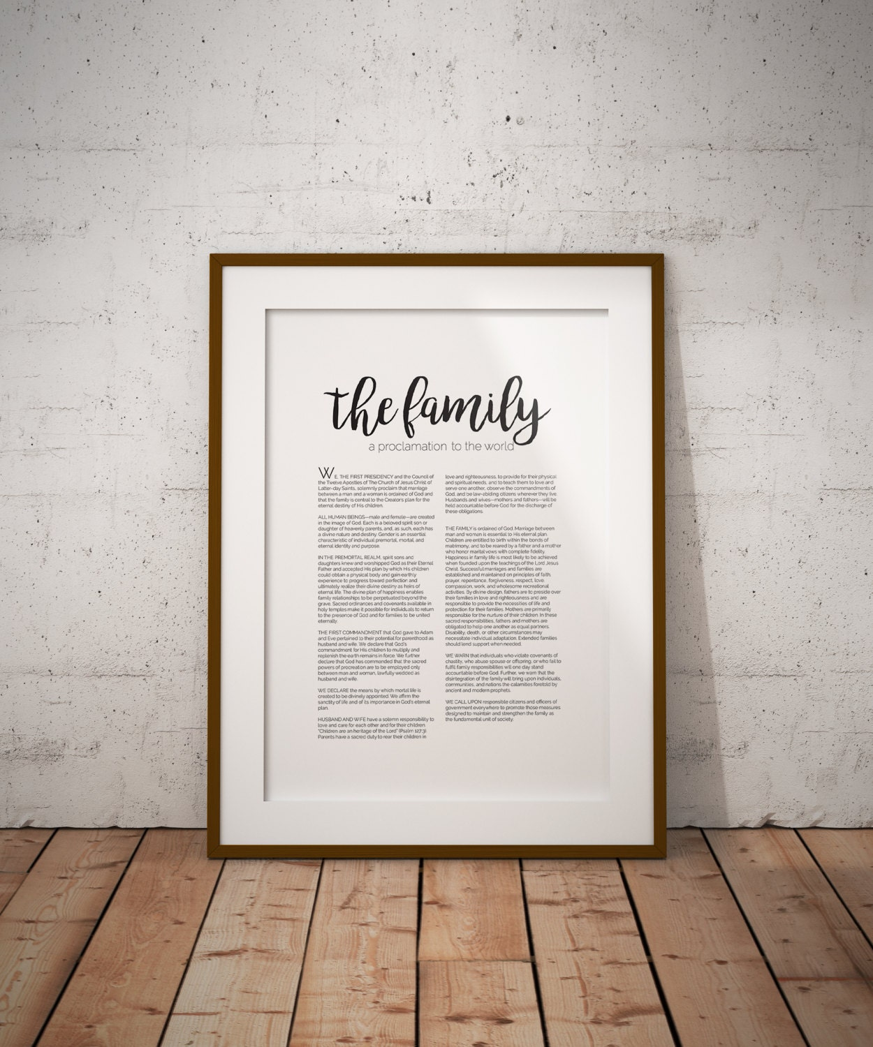 LDS Family Proclamation Black Font The Family A Proclamation | Etsy