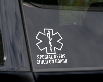 Special Needs Child on Board Car Sticker Decal