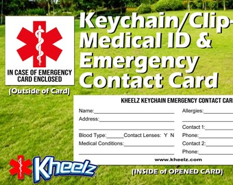 Medical Alert In Case of Emergency Keychain ICE Card