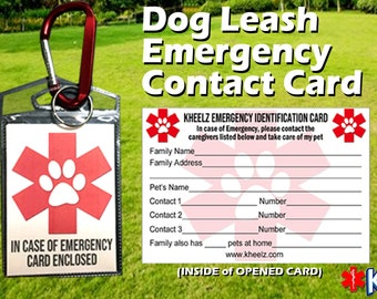 Dog Leash Pet Emergency Contact Card for Dog Lovers