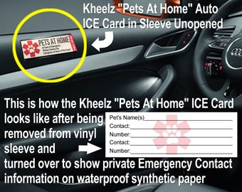 Pets at Home Alone Card Emergency Pets at Home Ice Card, Pet Safety Stickers, Pet ID Card, Pet Safety Stickers, Wallet ICE Card, Pet ICE