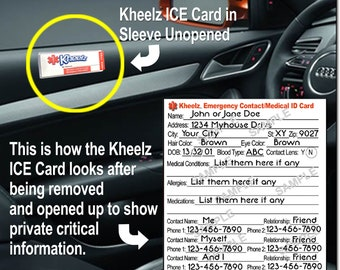 Medical Alert ID Card Automobile ICE (In Case of Emergency) Adult Card Car Seat Sticker Car Seat Emergency Stickers ICE Card New Driver Gift