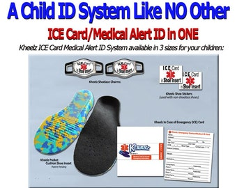 Special Needs Child ID & Medical Alert ICE (In Case of Emergency) Card Insole - Children Size Medium - US Toddler Size 10 thru 12