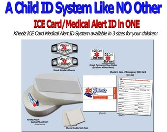 Special Needs Child ICE Card Medical Alert Jewelry In Case of Emergency Contact Kids Shoe Tag Autism Awareness LARGE - Child 2.5 - Child 10