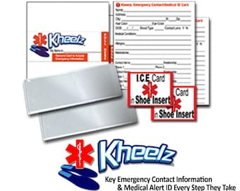 Child ID & Medical Alert In Case of Emergency (ICE) Card for Kids / Adults