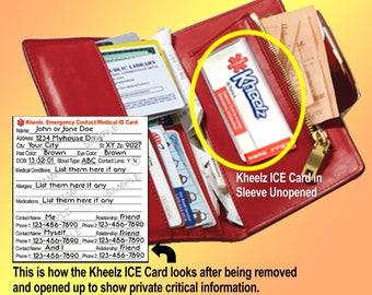 Medical Alert In Case of Emergency Wallet ICE Card Medical Alert ID Card Medical Sticker Medical Card Diabetic Food Allergy ID Card in Purse