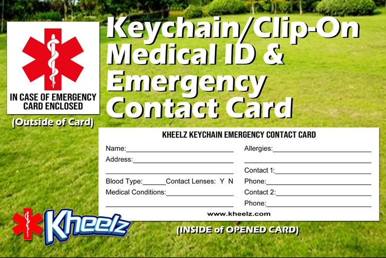 Medical Alert In Case of Emergency Keychain ICE Card image 0