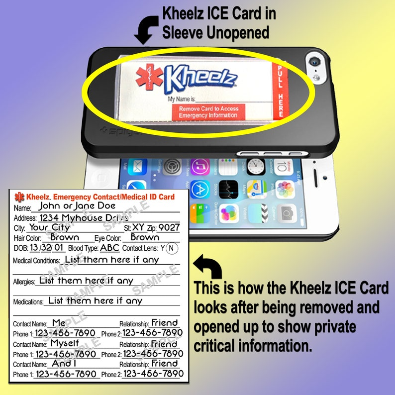 Phone Accessory In Case of Emergency ID Card ICE Card Medical image 0
