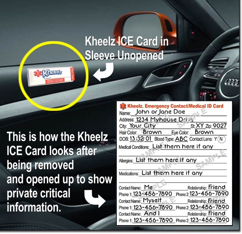 Medical Alert ID Card Automobile ICE In Case of Emergency image 0