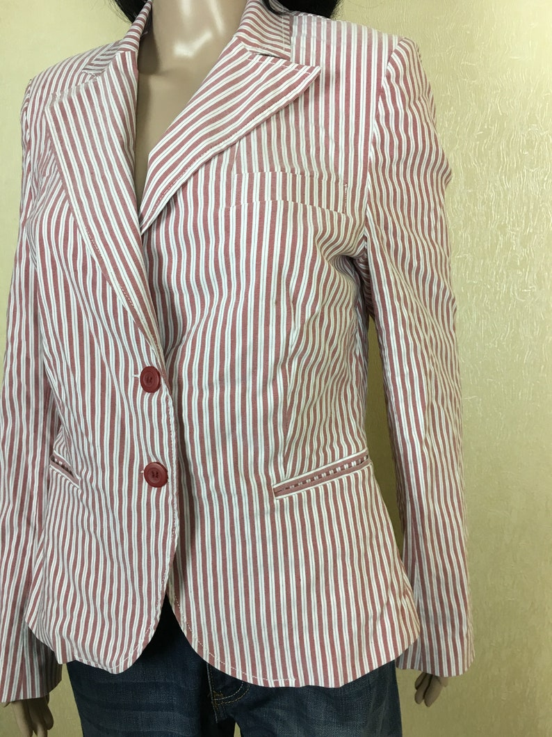 Size L Hipster Striped Blazer Lightweight Slim Blazer Pink Strip Jacket 90s Vintage KappAhl Blazer