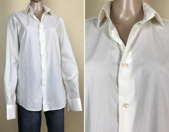 Men/'s Pastel long Sleeve Cotton Shirt by Angelo Roma 90s vintage Size M.