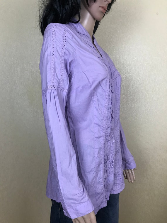 Women's Embroidered Ruffle Lilac Blouse by S'OLIV… - image 8