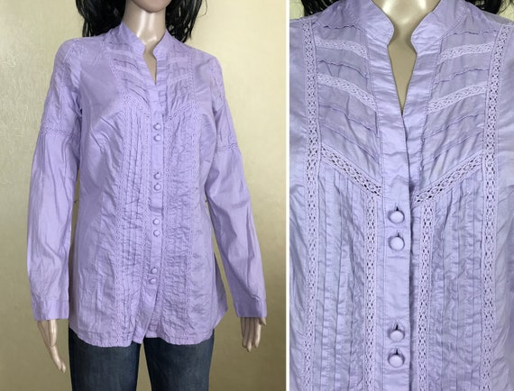 Women's Embroidered Ruffle Lilac Blouse by S'OLIV… - image 1