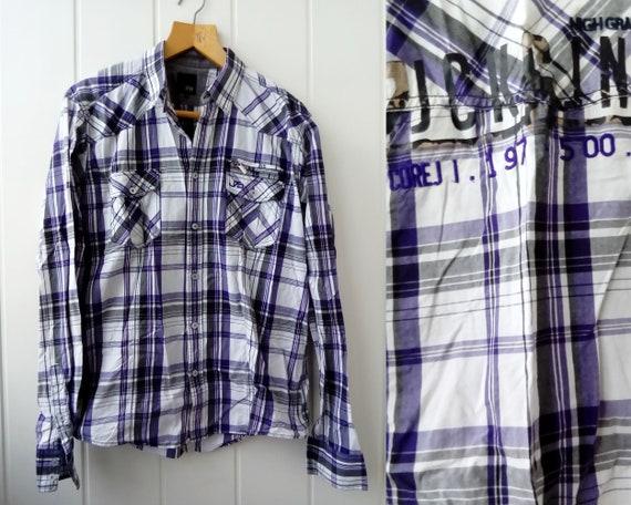 Violet White Checkered Shirt 90s Checkered Shirt L