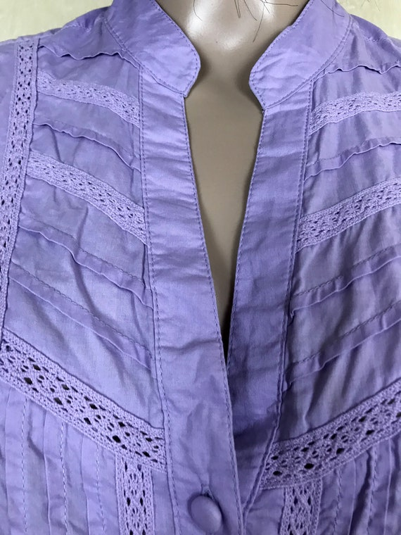 Women's Embroidered Ruffle Lilac Blouse by S'OLIV… - image 5