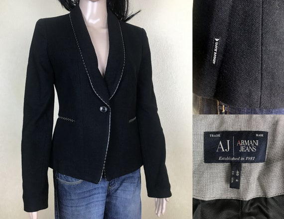Black Tuxedo Blazer by ARMANI, Shawl Collar Wool J