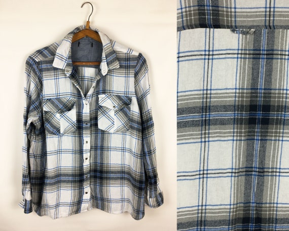 Gray White Vintage Blouse Preppy Shirt Checkered B