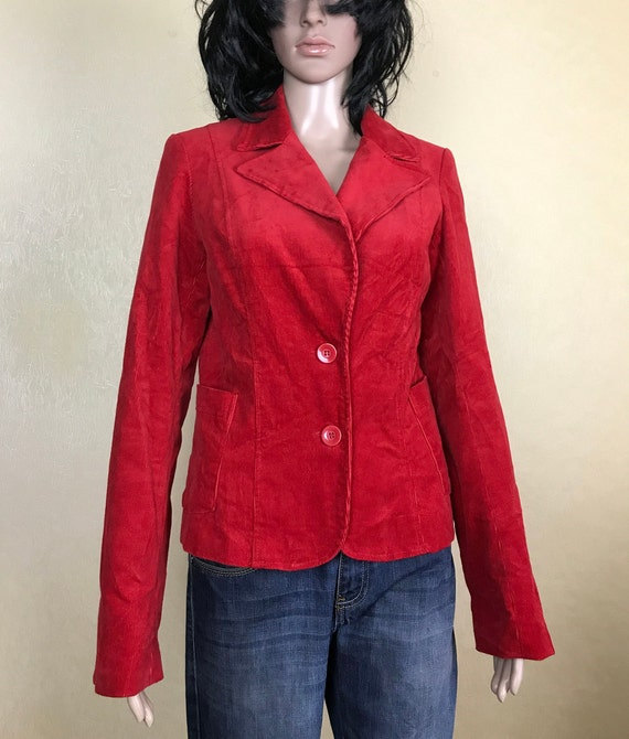 Red Corduroy Blazer, 80s Vintage, Womens Corduroy