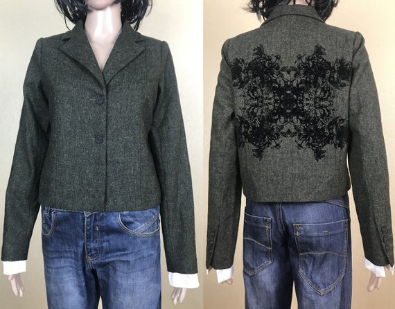 Women's Gray Wool Cropped Blazer by NU, 90s Vintag