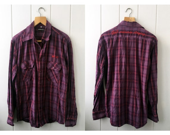 Checkered Shirt Plaid Western Shirt Vintage Men's… - image 1